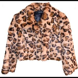 NWOT Bebe Fur Bolero Jacket-Leopard Print